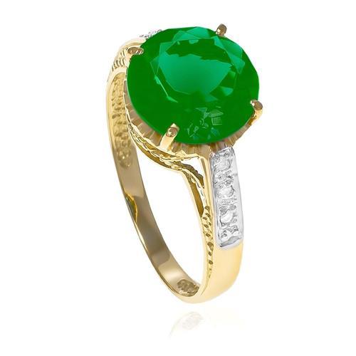 Anel com 6 Diamantes e Jade Central¸ em Ouro Amarelo