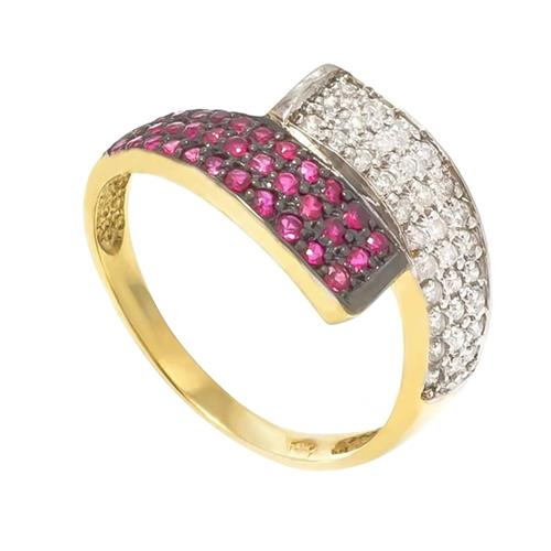 Anel com 33 Diamantes e 33 Rubis¸ em Ouro Amarelo