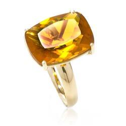 Anel com Citrino Retangular¸ em Ouro Amarelo