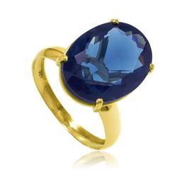 Anel com Topázio Azul Oval de 9 Cts¸ em Ouro Amarelo