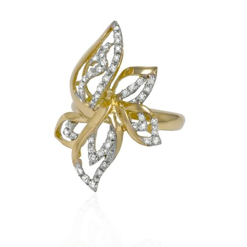 Anel Floral com 50 Diamantes em ouro amarelo