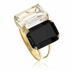 Anel com casadinho com Cristal e Onix Retangular¸ em Ouro Amarelo