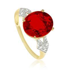 Anel com 6 Diamantes e Quartzo Rubi oval¸ em Ouro Amarelo