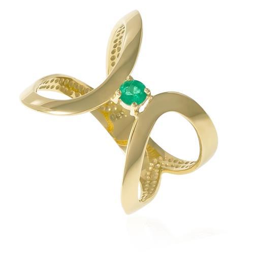 Anel estilizado em ouro amarelo com Esmeralda central