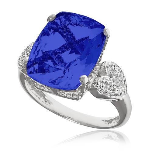 Anel Corações com 2 Diamantes e Cristal de Tanzanita¸ em Prata