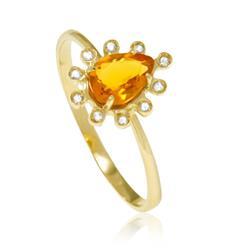 Anel gota com Citrino com Diamantes em ouro amarelo