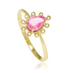 Anel gota com Cristal de turmalina Rosa com Diamantes em ouro amarelo