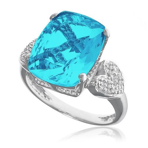 Anel Corações com 2 Diamantes e Topázio Sky Blue, em Prata