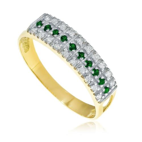 Meia Aliança tripla com Diamantes e Esmeraldas em ouro amarelo