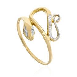 Anel Serpente com Diamantes em ouro amarelo