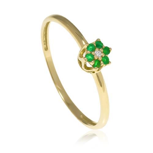 Anel flor em esmeralda com 1 diamante e ouro amarelo