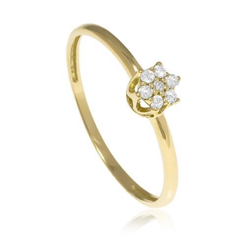 Anel flor em Diamantes ouro amarelo