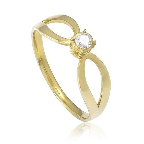 Anel Solitário com Diamante de 10 Pts¸ em Ouro Amarelo