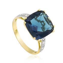 Anel com 8 Diamantes e Topázio Azul¸ em Ouro Amarelo