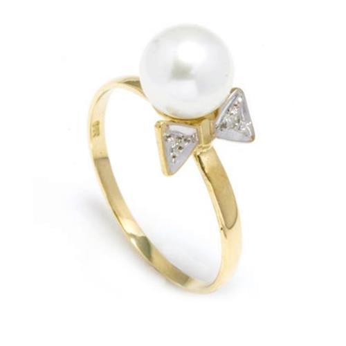 Anel Lacinho com 2 Diamantes e Pérola de 8 mm¸ em Ouro Amarelo
