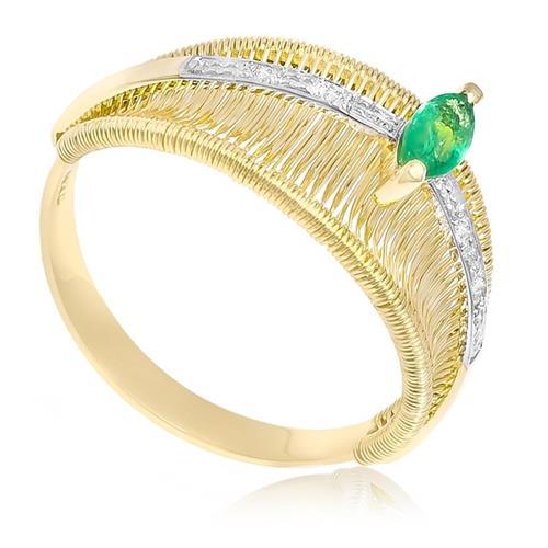 Anel Aramado com Esmeralda Navete e 4 Diamantes em Ouro Amarelo