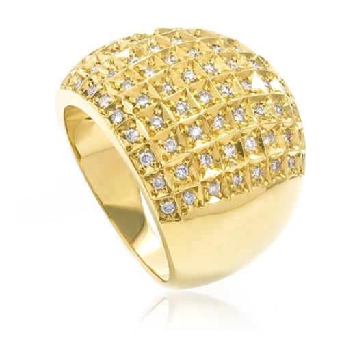 Anel pave de diamantes em ouro amarelo
