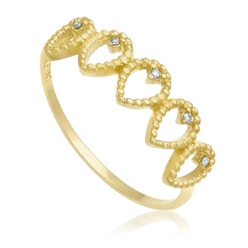 Anel Gotas com 5 Diamantes¸ em Ouro Amarelo