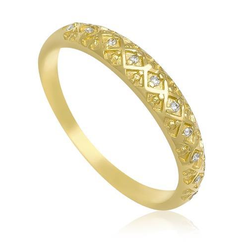 Anel Trabalhado com 10 Diamantes, em Ouro Amarelo