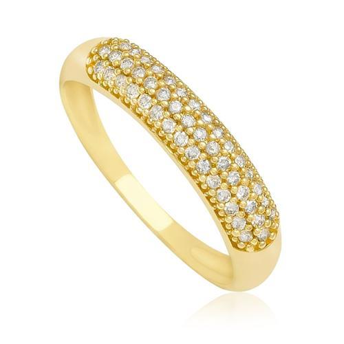 Anel com 46 Diamantes totalizando 23 Pts¸ em Ouro Amarelo