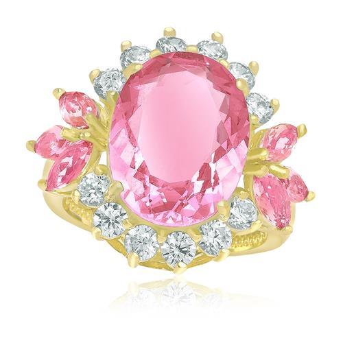 Anel com Cristal de Turmalina Rosa e Zircônias¸ Folheado a Ouro Amarelo
