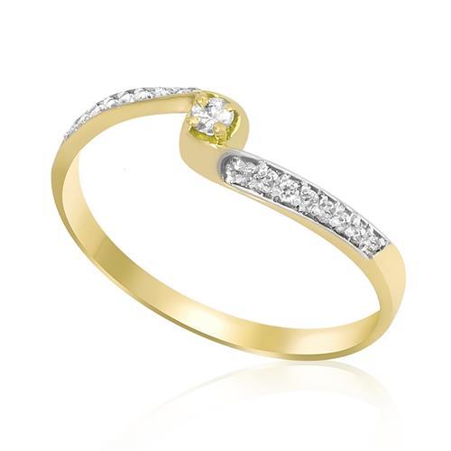 Anel com 17 Diamantes, em Ouro Amarelo
