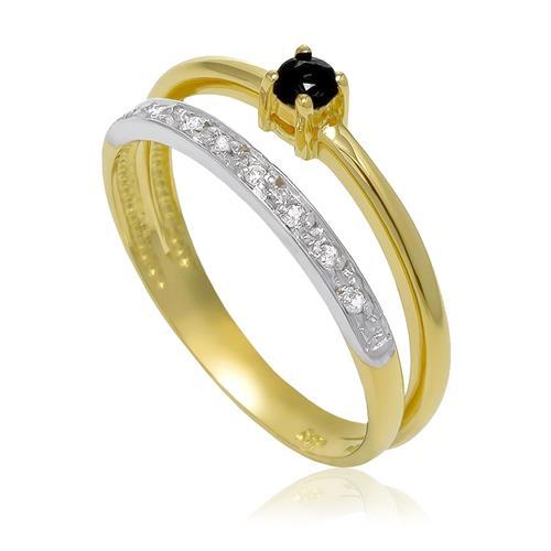 Anel com 8 Diamantes e Safira¸ em Ouro Amarelo