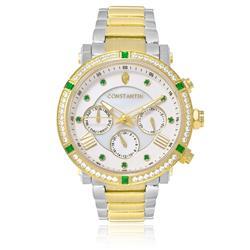 Relógio Feminino Constantim Princess Luxury Silver Green Analógico 6653-LMGG Aço Dourado