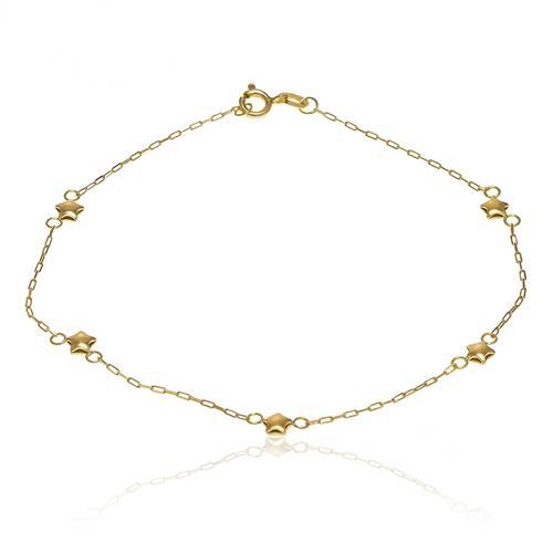 Pulseira com Estrelas e Malha Cartier em Ouro Amarelo