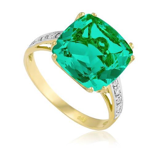 Anel com 8 Diamantes e Cristal de Turmalina Paraíba, em Ouro Amarelo