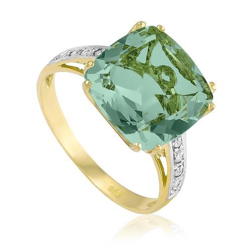 Anel com 8 Diamantes e Prasiolita¸ em Ouro Amarelo