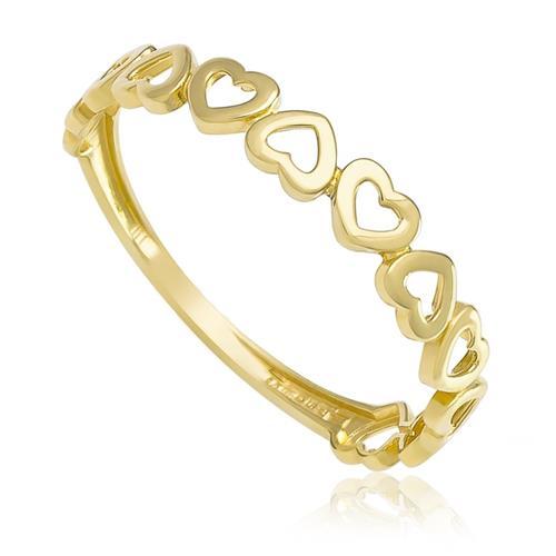 Anel Corações em Ouro Amarelo
