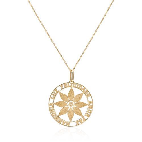 Corrente com Pingente Mandala com 1 Diamante em Ouro Amarelo