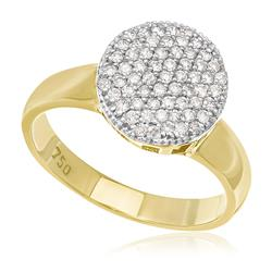 Anel Chuveiro com 61 Diamantes e Detalhes de Corações Internos, em Ouro Amarelo