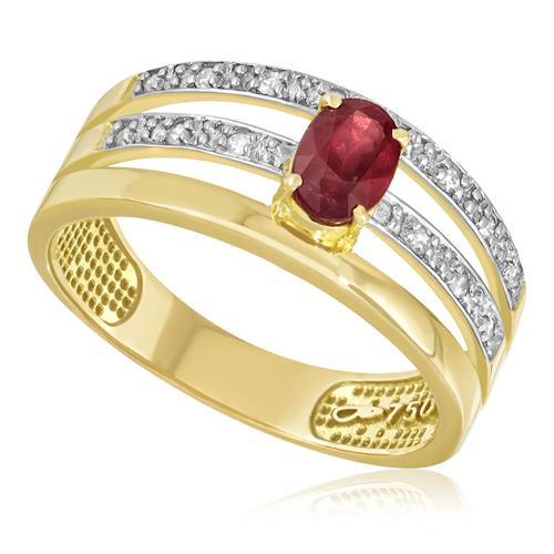 Anel com 14 Diamantes e Rubi Central de 50 Pts.¸ em Ouro Amarelo