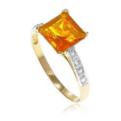 Anel Trabalhado com 8 Diamantes e Citrino¸ em Ouro Amarelo