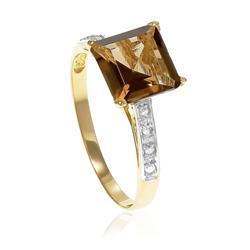 Anel Trabalhado com 8 Diamantes e Topázio Fumê¸ em Ouro Amarelo