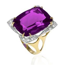 Anel com 12 Diamantes e Ametista de 12 Cts em Ouro Amarelo