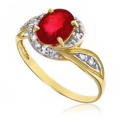 Anel com 8 Diamantes e Rubi Central de 2¸0 cts.¸ em Ouro Amarelo