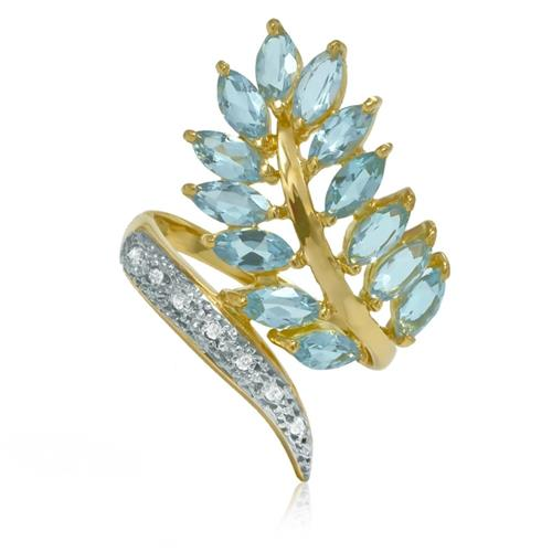 Anel Trabalhado com 7 Diamantes e 13 Águas Marinhas Navetes¸ em Ouro Amarelo