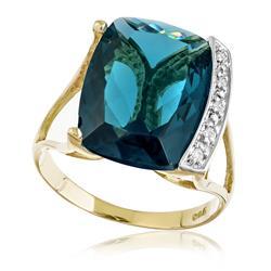 Anel com 5 Diamantes e  Topázio Azul retangular de 10 Cts ¸ em Ouro Amarelo