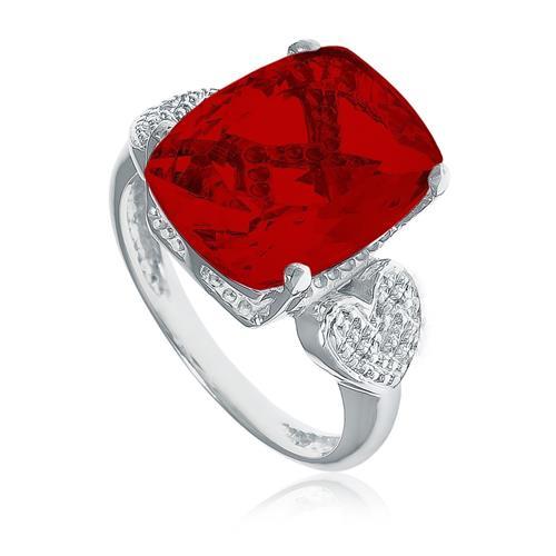 Anel Corações com 2 Diamantes e Quartzo Rubi, em Prata