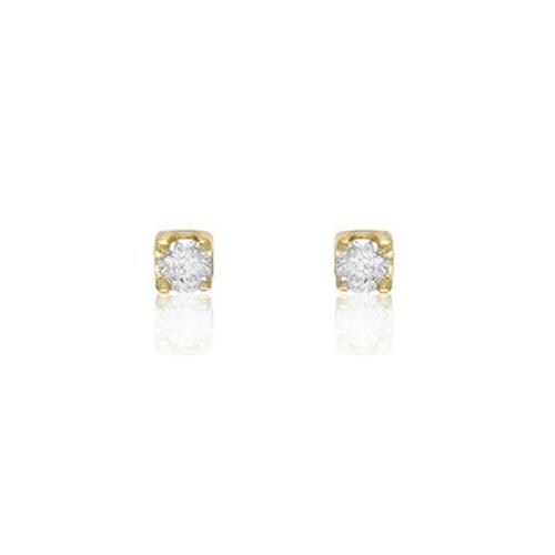Par de Brincos Solitário com Diamantes totalizando 20 Pts¸ em Ouro Amarelo