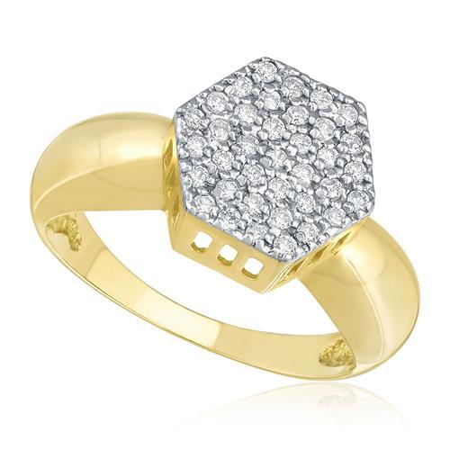 Anel Chuveiro com 61 Diamantes, em Ouro Amarelo