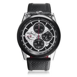 Relógio Masculino Orient Analógico MBSCC042 SPPX couro preto com calendário e taquímetro