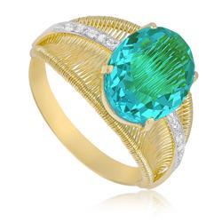 Anel Aramado com Cristal de Turmalina Paraiba e 4 Diamantes, em Ouro Amarelo