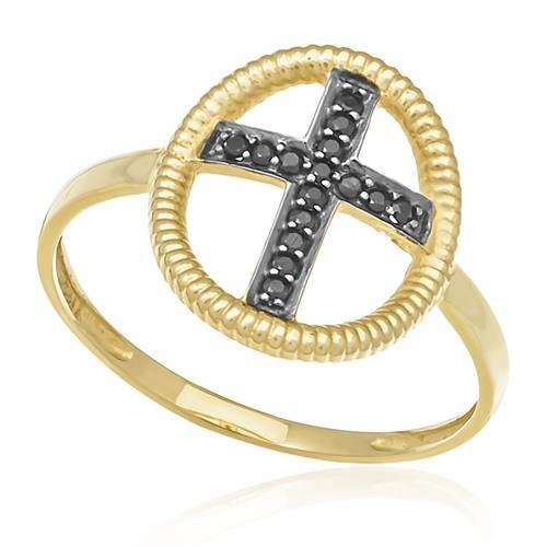 Anel Cruz com 15 Diamantes Negros em Ouro Amarelo