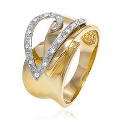 Anel com coração estilizado com Diamantes em ouro amarelo