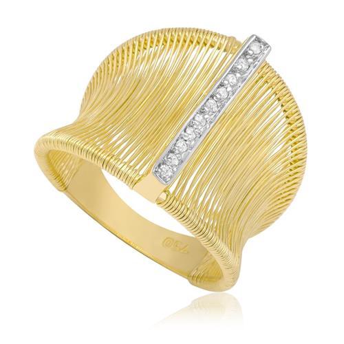 f3a0b561335 Anel Aramado com 10 Diamantes em Ouro Amarelo Joias Vip