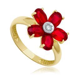 Anel Flor com 1 Diamante de 5 Pts e Quartzo Rubi¸ em Ouro Amarelo
